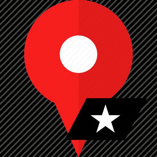 location, pin, star icon