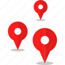 gps, pins, three icon