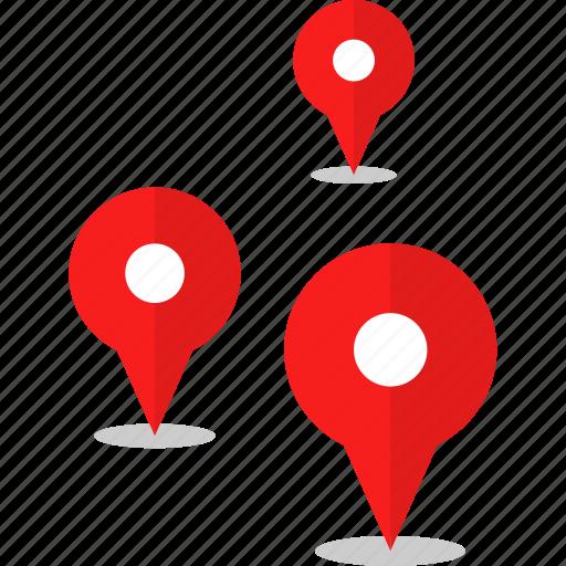gps, pins, three icon