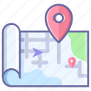 atlas, geography, map, navigation, roll icon