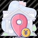 bank, cash, location, map, navigation, pin icon