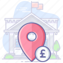 bank, currenc, location, map, navigation, pin icon