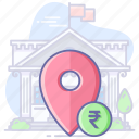 bank, location, map, navigation, pin, rupees icon