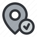 location, map, marker, pin, place, pointer, verified icon