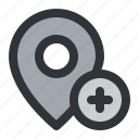 add, location, map, marker, pin, place, pointer icon
