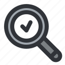 check, find, magnifier, search, verified icon