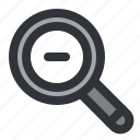 find, magnifier, minus, remove, search, zoom icon