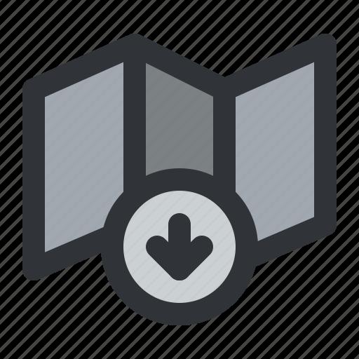 arrow, download, map, navigation icon
