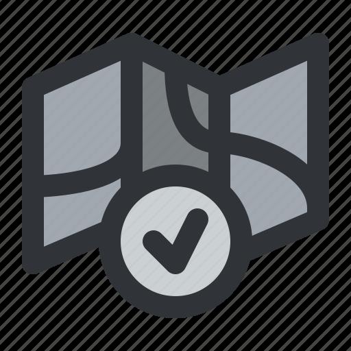 check, map, navigation, verified icon