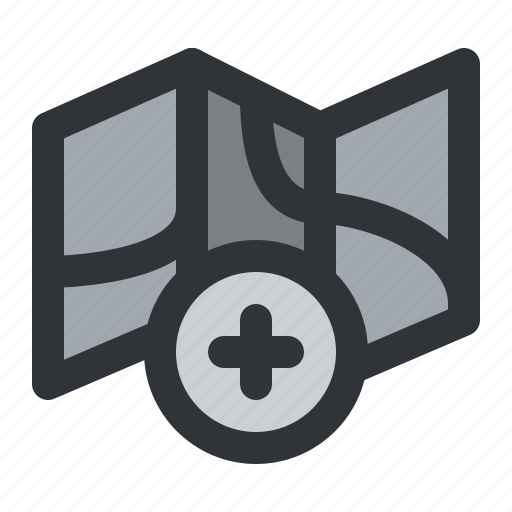 add, map, navigation, plus icon