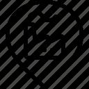 factory, gps, manufacturing, map, maps, navigation, pin, smokestack, style, three icon