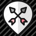 pin, style, double, arrow