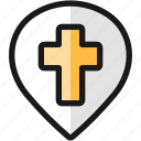 church, pin, cross, style