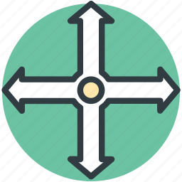 four way, four way arrow, road intersection, road sign, traffic sign icon