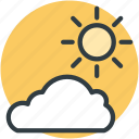 cloud, morning, sun, sunny cloudy, weather icon