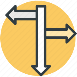 direction arrows, direction post, finger post, guidepost, signpost icon