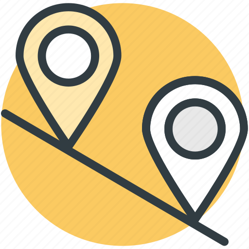 location pins, location pointers, map locator, travel distance, travelling points icon