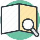 finding place, magnifier, map exploring, searching map, unfolded map icon