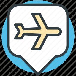 airport location, airport location pin, location marker, map locator, map pointer icon