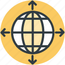 global network, internet, planet, world map, worldwide icon