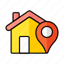 pin, pointer, finding, house, home, map, location icon
