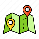 map direction, pin, map navigation, road map, paper map, route, map icon