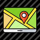 paper, place, navigation, direction, computer, map, location