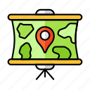 pin, map, direction, screen, projector, marker, location