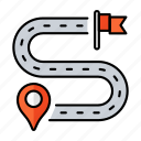 delivery, flag, direction, road, target, map, location icon