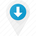 down, geolocation, location, map, pin