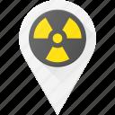 geolocation, location, map, pin, radioactive