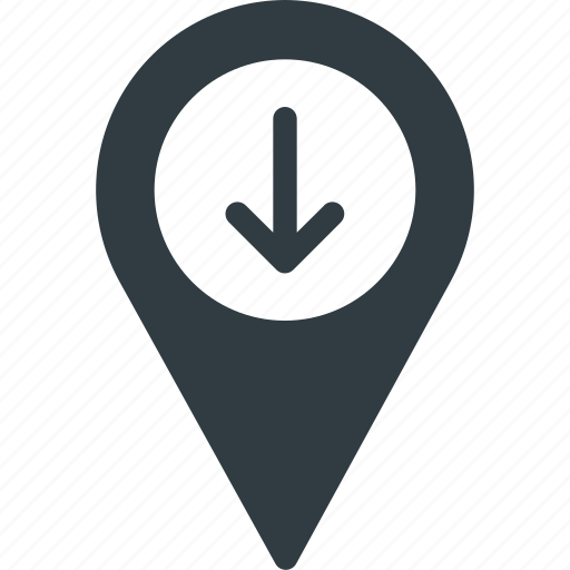 down, geolocation, location, map, pin icon