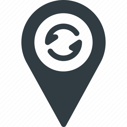geolocation, location, map, pin, refresh, reload icon