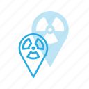 geolocation, location, map, pin, radioactive icon