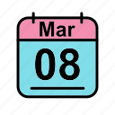 calendar, date, mar, march, schedule icon, we icon