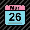 calendar, date, mar, march, schedule icon, su icon