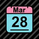 calendar, date, mar, march, schedule icon, tu icon