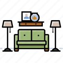 furniture, lamp, living room, sofa icon