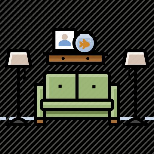 furniture, lamp, living room, sofa icon
