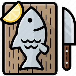 cleaning, cutting board, fish, kitchen, knife icon