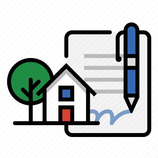 contract, home, house, mortgage, real estate icon