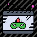 calendar, date, gras, mask icon