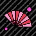 fan, gras, hand, wind icon