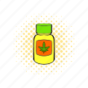 bottle, comics, drug, hemp, marijuana, medical, weed icon