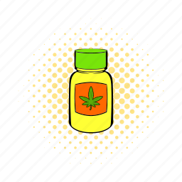 bottle, comics, drug, hemp, marijuana, medical, weed icon