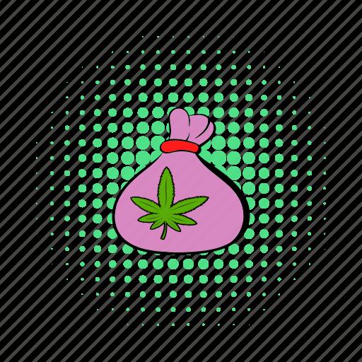 bag, cannabis, comics, hemp, marijuana, medicinal, weed icon