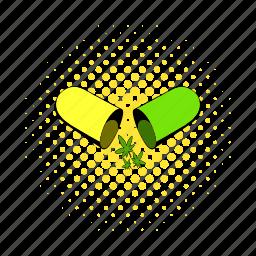 comics, drug, hemp, living pictogram, marijuana, medical, weed icon