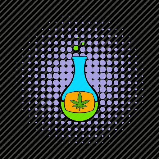 chemical, chemistry, comics, flask, glass, marijuana, medicine icon