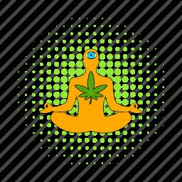 comics, leaf, lotus, marijuana, plant, position, yoga icon