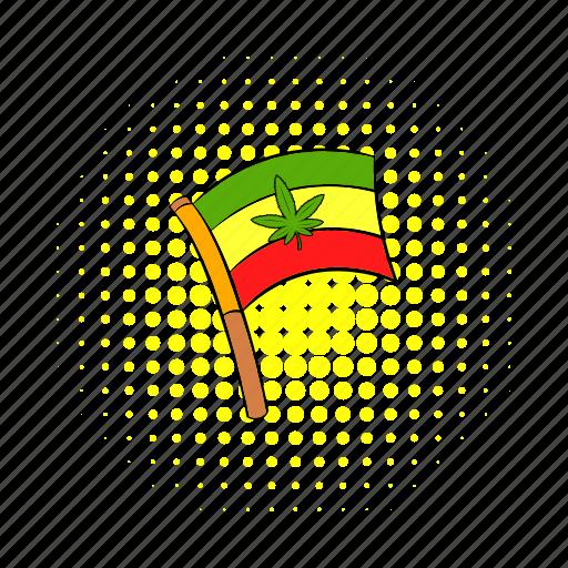 cannabis, comics, flag, jamaica, leaf, rastafarian, red icon